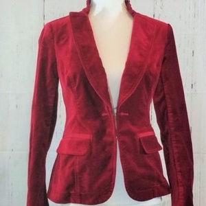 White House Black Market Red Velvet Jacket 12